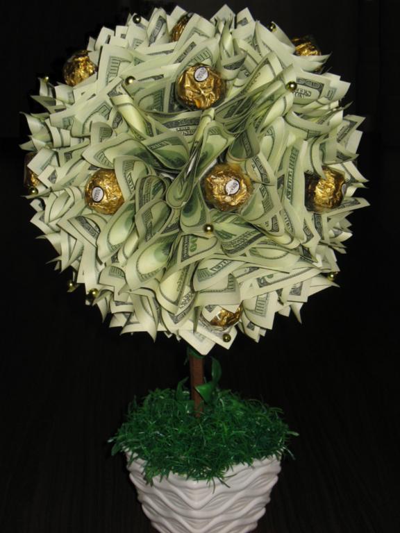 Денежное дерево из конфет своими руками мастер класс 50