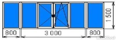Остекление балкона п-образного,800х3000х800х1500 мм, дерево.