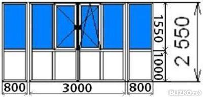 Остекление балкона п-образного,трехкамерный rehau blitz, ме.